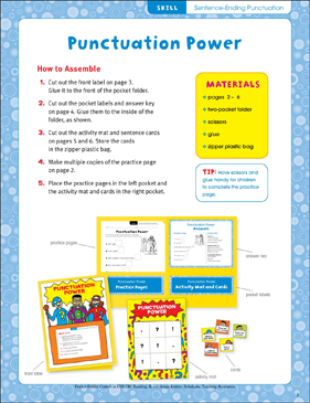 Punctuation Power (Sentence-Ending Punctuation): Pocket-Folder Center - Printable Worksheet