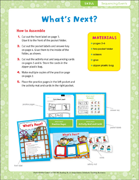 What's Next? (Sequencing Events) Pocket-Folder Center - Printable Worksheet
