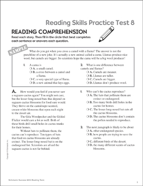 Reading Skills Practice Test 8 (Grades 5-6) - Printable Worksheet