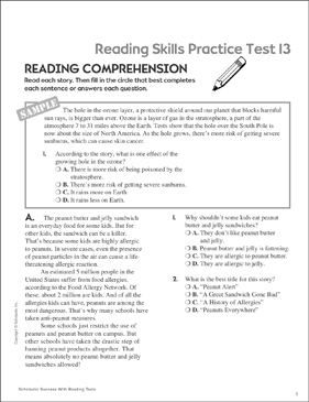 Reading Skills Practice Test 13 (Grades 5-6) - Printable Worksheet