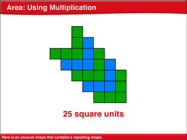 Area: Using Multiplication: Math Lesson - Printable Worksheet