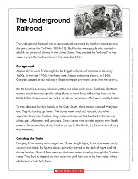 The Underground Railroad: Text & Organizer - Printable Worksheet