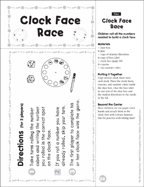 Time: Math Shoe Box Learning Center - Printable Worksheet