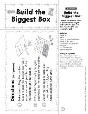Measurement: Math Shoe Box Learning Center - Printable Worksheet