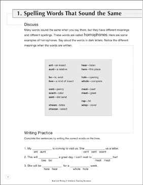 Spelling Words That Sound the Same: Life Skills Practice (Writing) - Printable Worksheet
