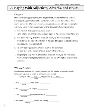 Playing With Nouns, Adjectives, and Adverbs: Life Skills Practice (Writing) - Printable Worksheet