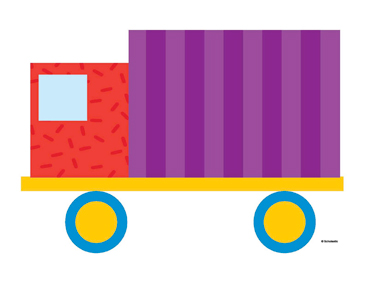 Purple Striped Truck - Image Clip Art