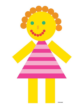 Girl in a Pink Striped Dress - Image Clip Art