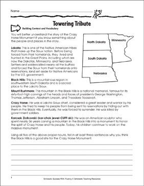 Towering Tribute (Crazy Horse Monument): Fluency-Building Practice - Printable Worksheet