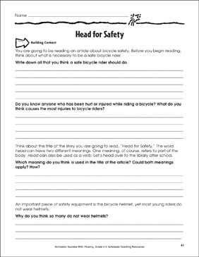 Head for Safety (Bicycle Safety and Helmets): Fluency-Building Practice - Printable Worksheet