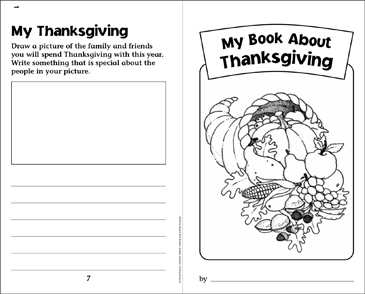 My Book About Thanksgiving - Printable Worksheet