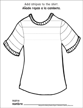 Straight Lines on a Shirt: Bilingual Pre-Writing Practice Page - Printable Worksheet