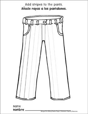 Straight Lines on Pants: Bilingual Pre-Writing Practice Page - Printable Worksheet