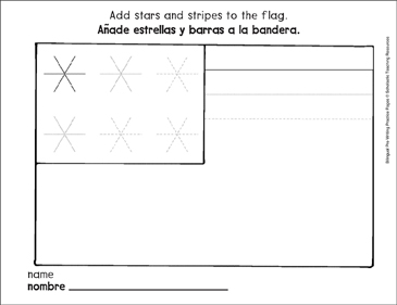 Straight Lines on the Flag: Bilingual Pre-Writing Practice Page - Printable Worksheet