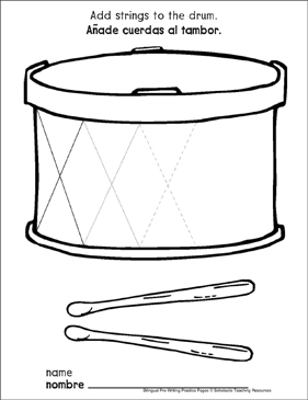 Zigzag Lines on a Drum: Bilingual Pre-Writing Practice Page - Printable Worksheet