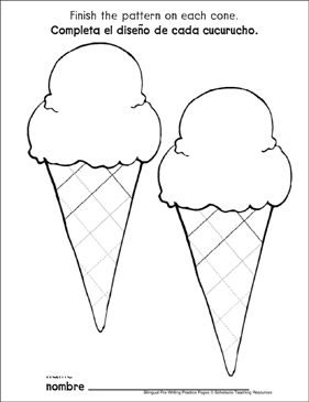 Zigzag Lines on Ice-Cream Cones: Bilingual Pre-Writing Practice Page - Printable Worksheet