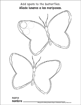 Circles on Butterflies: Bilingual Pre-Writing Practice Page - Printable Worksheet