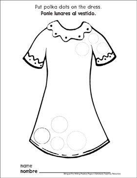 Circles on a Dress: Bilingual Pre-Writing Practice Page - Printable Worksheet