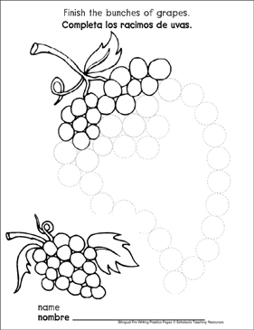 Circles on Grapes: Bilingual Pre-Writing Practice Page - Printable Worksheet