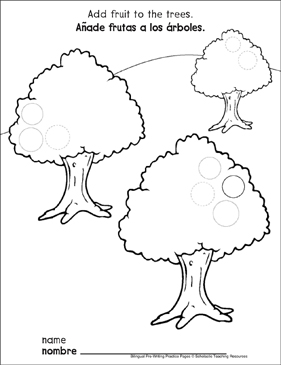 Circles on Fruit Trees: Bilingual Pre-Writing Practice Page - Printable Worksheet