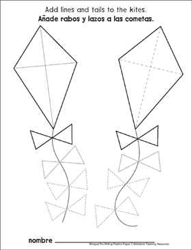 Triangles on Kites: Bilingual Pre-Writing Practice Page - Printable Worksheet