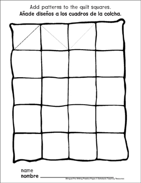 Triangles on a Quilt: Bilingual Pre-Writing Practice Page - Printable Worksheet