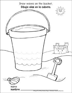 Curves and Spirals on a Bucket: Bilingual Pre-Writing Practice Page - Printable Worksheet