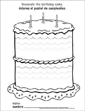 Curves and Spirals on a Birthday Cake: Bilingual Pre-Writing Practice Page - Printable Worksheet