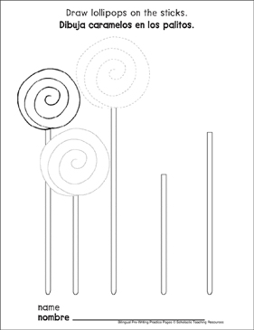 Curves and Spirals on Lollipops: Bilingual Pre-Writing Practice Page - Printable Worksheet
