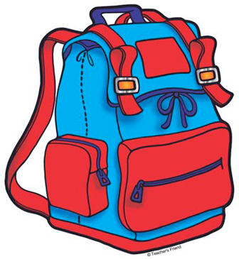 Red and Blue Backpack - Image Clip Art