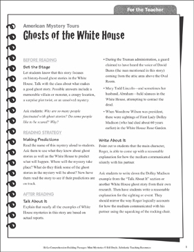 Ghosts of the White House (Making Predictions): Hi-Lo Comprehension-Building Mini-Mysteries - Printable Worksheet