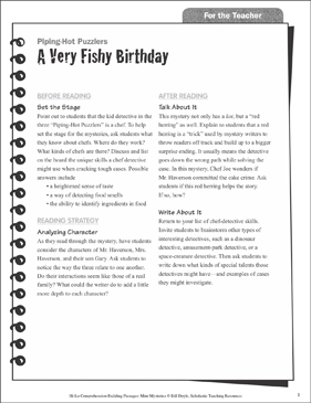 A Very Fishy Birthday (Analyzing Character): Hi-Lo Comprehension-Building Mini-Mysteries - Printable Worksheet