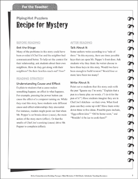 Recipe for Mystery (Cause and Effect): Hi-Lo Comprehension-Building Mini-Mysteries - Printable Worksheet