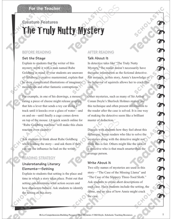 photo about Quick Solve Mysteries Printable titled The Seriously Nutty Key (Ecosystem): Hello there-Lo Mini-Top secret