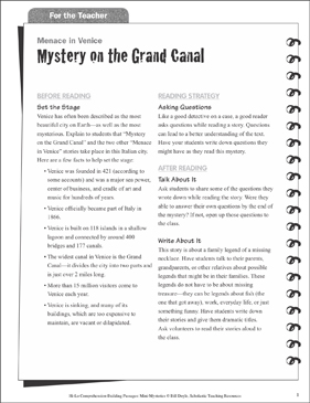Mystery on the Grand Canal (Asking Questions): Hi-Lo Comprehension-Building Mini-Mysteries - Printable Worksheet