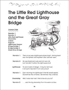 The Little Red Lighthouse and the Great Gray Bridge: Folktale Play - Printable Worksheet