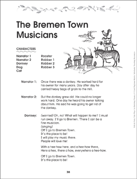 The Bremen Town Musicians: Folktale Play - Printable Worksheet