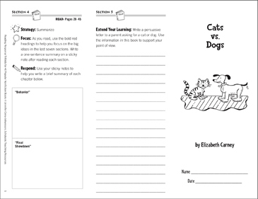 Cats vs. Dogs: Reading Response Trifold - Printable Worksheet