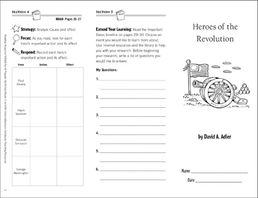 Heroes of the Revolution: Reading Response Trifold - Printable Worksheet