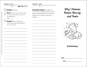 Why I Sneeze... Reading Response Trifold - Printable Worksheet