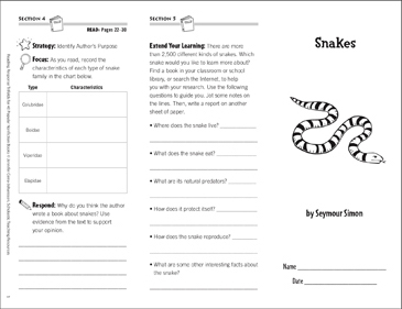 Snakes: Reading Response Trifold - Printable Worksheet