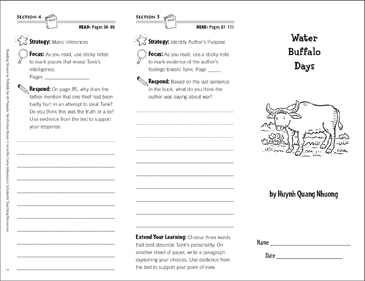 Water Buffalo Days: Reading Response Trifold - Printable Worksheet