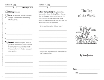 The Top of the World: Reading Response Trifold - Printable Worksheet