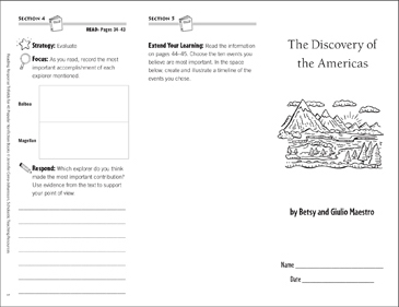 Discovery of the Americas Reading Response Trifold - Printable Worksheet