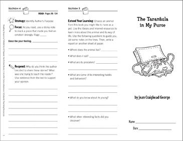 The Tarantula in My Purse Reading Response Trifold - Printable Worksheet