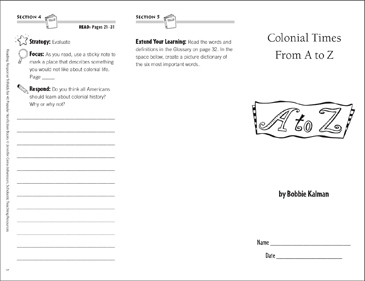 Colonial Times From A-Z: Reading Response Trifold - Printable Worksheet