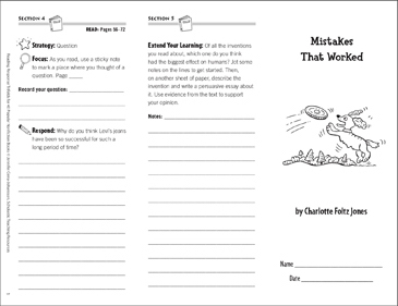 Mistakes That Worked: Reading Response Trifold - Printable Worksheet