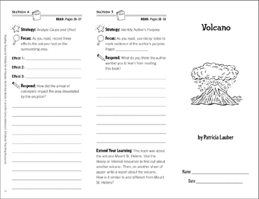 Volcano: Reading Response Trifold - Printable Worksheet