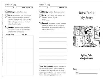 Rosa Parks: Reading Response Trifold - Printable Worksheet