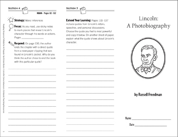 Lincoln Photobiography: Reading Response Trifold - Printable Worksheet